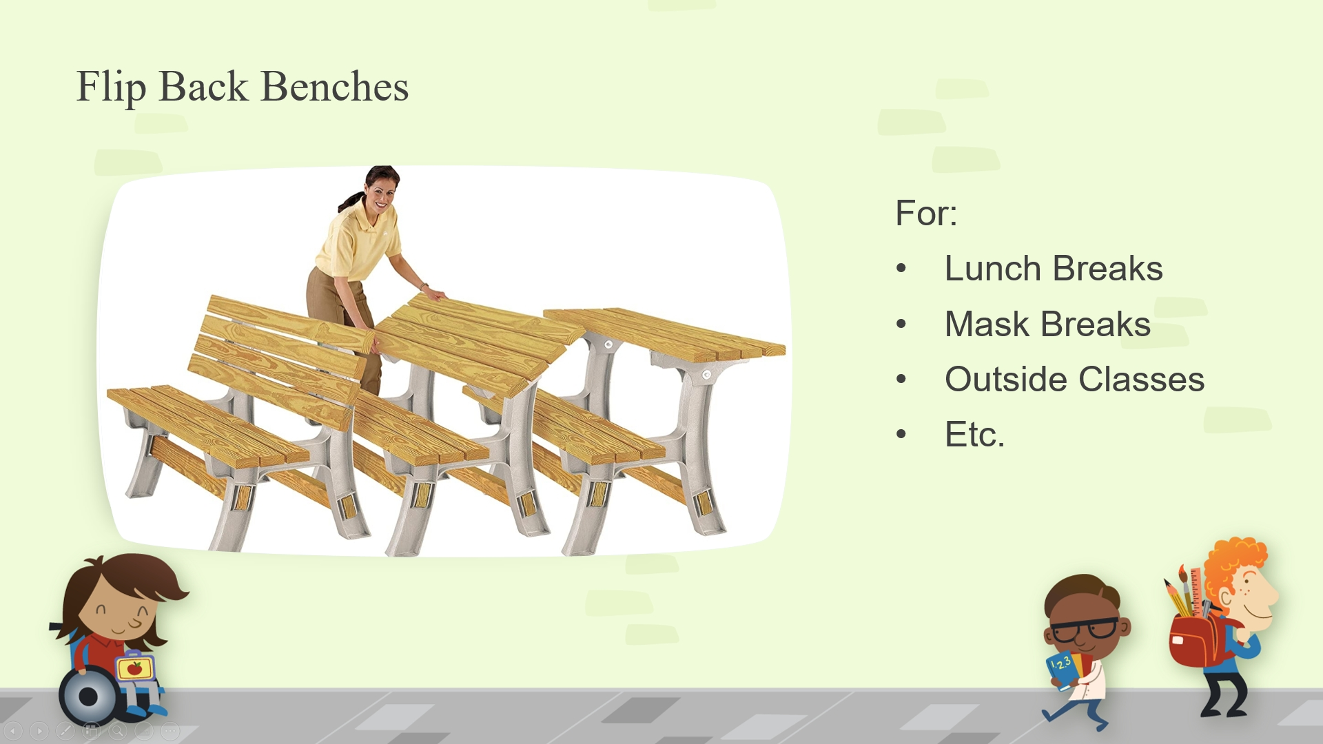 Convertible Benches. A Proposal by Members Suzanne & Ian Rominger